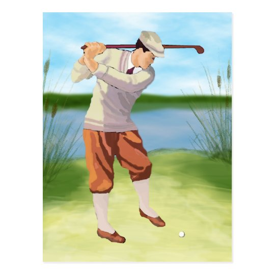Vintage Golfer by the Riverbank Postcard