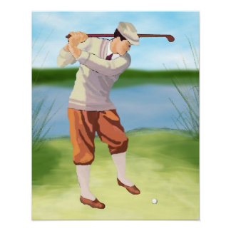 Vintage Golfer by the Riverbank Poster
