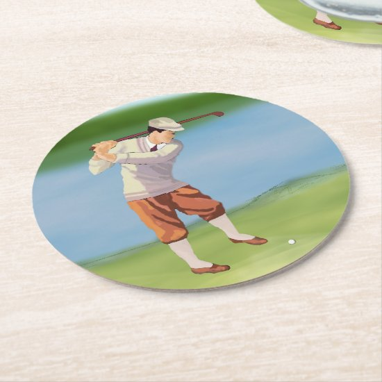 Vintage Golfer by the Riverbank Round Paper Coaster