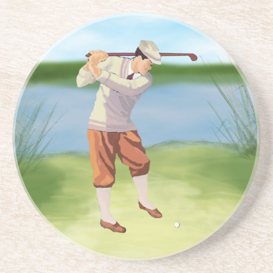 Vintage Golfer by the Riverbank Sandstone Coaster