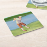 """Vintage Golfer by the Riverbank Square Paper Coaster<br><div class=""""desc"""">Ideal for the golfer or collector of golfing memorabilia,  this sports design features a vintage image of a golfer by the river bank,  taking a swing at a golf ball.</div>"""