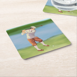 Vintage Golfer by the Riverbank Square Paper Coaster