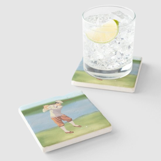 Vintage Golfer by the Riverbank Stone Coaster