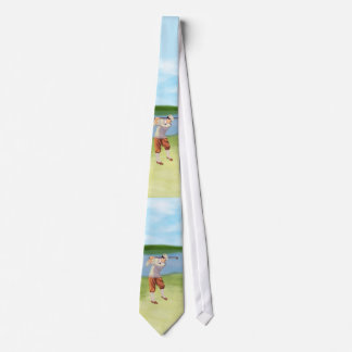 Vintage Golfer by the Riverbank Tie