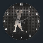 "Vintage Golfer; Cool Large Clock<br><div class=""desc"">Cool grunge industrial metal look golfing golfer golf knickers ball vintage sport design. Great for gifts! Available on tee shirts, smart phone cases, mousepads, keychains, posters, cards, electronic covers, computer laptop / notebook sleeves, caps, mugs, and more! Visit our site for a custom gift case for Samsung Galaxy S3, iphone...</div>"