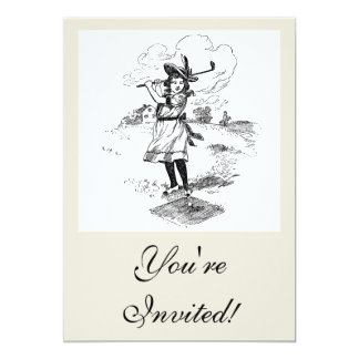 Vintage Golfer Girl 5x7 Paper Invitation Card