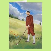 Vintage golfer in the rough card