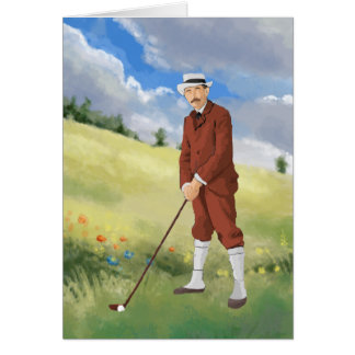 Vintage golfer in the rough greeting cards