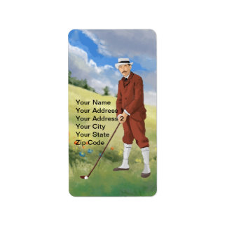 Vintage golfer in the rough custom address labels