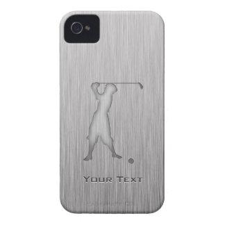Vintage Golfer; Metal-look iPhone 4 Case