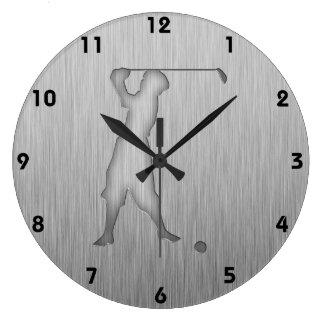 Vintage Golfer; Metal-look Large Clock