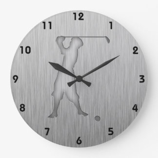 Vintage Golfer; Metal-look Large Clock