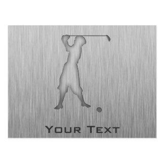 Vintage Golfer; Metal-look Post Cards