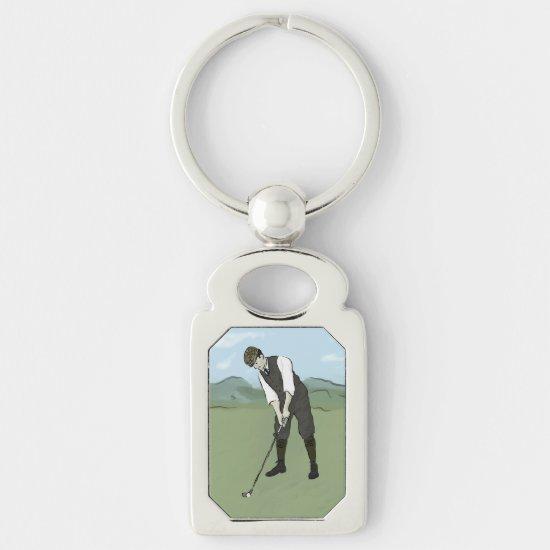 Vintage Golfer V1 Art Keychain