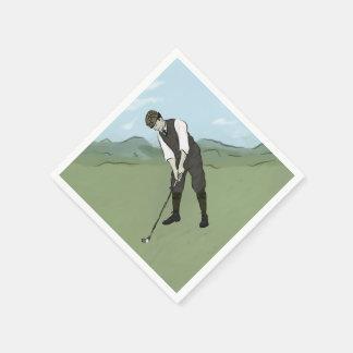 Vintage Golfer V1 Art Paper Napkin