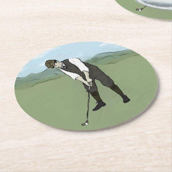 Vintage Golfer V1 Art Round Paper Coaster