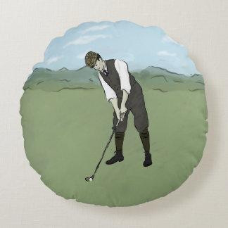 Vintage Golfer V1 Art Round Pillow