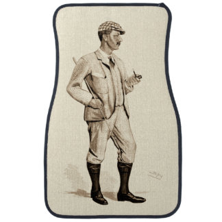 Vintage Golfer with Tobacco Pipe and Boots Car Mat