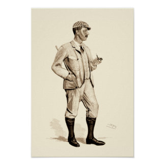 Vintage Golfer with Tobacco Pipe and Boots Poster