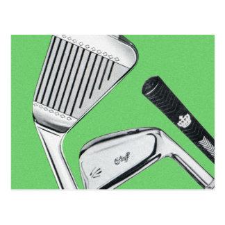 Vintage Golfing Golf Clubs Irons Postcard