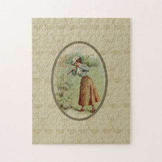 Vintage Golfing Lady Art Jigsaw Puzzle