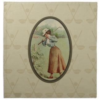 Vintage Golfing Lady Art Napkin