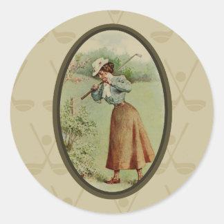 Vintage Golfing Lady Art Round Sticker