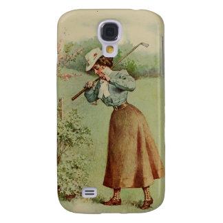 Vintage Golfing Lady Art Samsung Galaxy S4 Cover