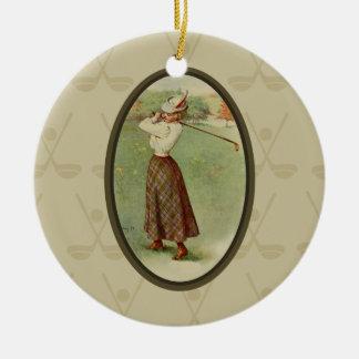Vintage Golfing Lady Art (three) Ceramic Ornament
