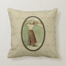 Vintage Golfing Lady Art (three) Throw Pillow