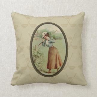 Vintage Golfing Lady Art Throw Pillow