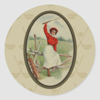 Vintage Golfing Lady Art (two) Classic Round Sticker