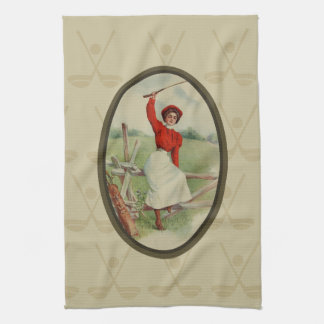 Vintage Golfing Lady Art (two) Hand Towel