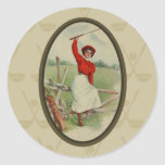 Vintage Golfing Lady Art (two) Round Stickers