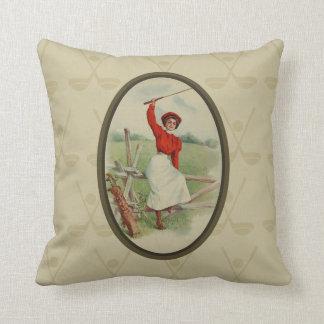 Vintage Golfing Lady Art (two) Throw Pillow