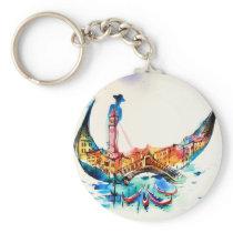 Vintage Gondola Venice City Travel Love Watercolor Keychain
