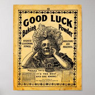 Vintage Good Luck Baking Powder Sign Print