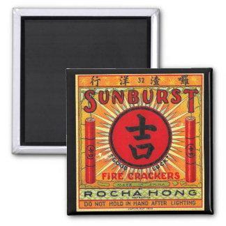 Vintage Good Luck Firecracker 2 Inch Square Magnet