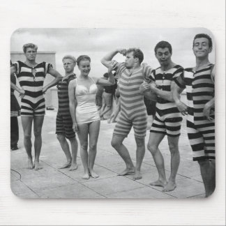 Vintage goofy men in bathing suits with woman mouse pad