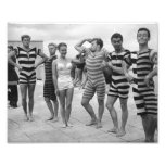 Vintage goofy men in bathing suits with woman photo art