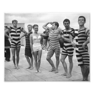Vintage goofy men in bathing suits with woman photo print