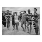 Vintage goofy men in bathing suits with woman poster