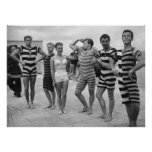Vintage goofy men in bathing suits with woman print