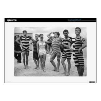 Vintage goofy men in bathing suits with woman laptop decal