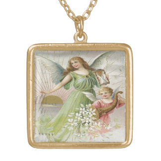 Vintage , Gorgeous Angels Gold Plated Necklace