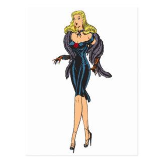 Vintage Gorgeous Glamor Girl Retro Blonde Pinup Postcard