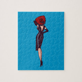 Vintage Gorgeous Glamor Girl Retro Pinup Jigsaw Puzzle