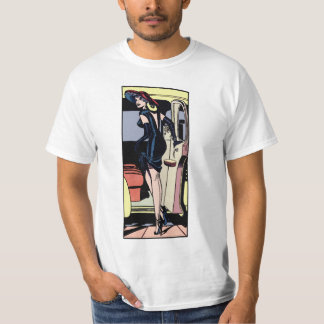 Vintage Gorgeous Glamour Girl Taxi Cab Retro Pinup T-Shirt
