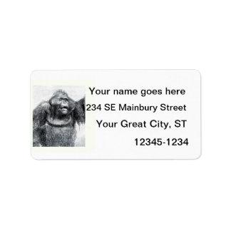 Vintage Gorilla primate drawing sketch design Personalized Address Label
