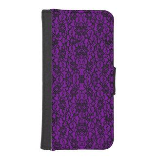 Vintage Goth Dark Purple Lace Wallet Phone Case